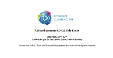 R20 and partners will host a side event at COP22 in Marrakech. Please join us!