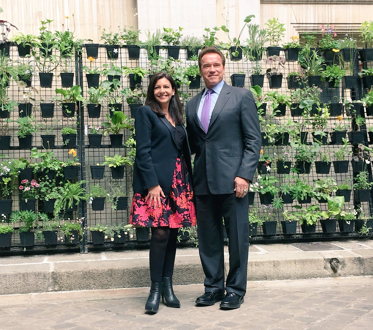 Anne Hidalgo and Schwarzenegger in Paris