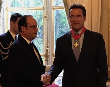 Arnold Schwarzenegger, the R20 Founding Chair, received the Legion of Honour after high-level environmental meetings in Paris
